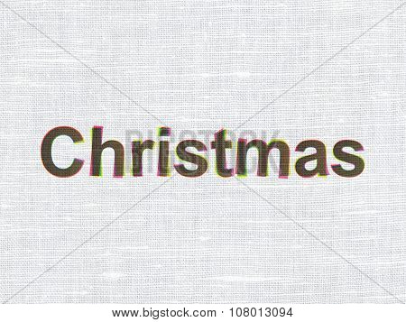 Entertainment, concept: Christmas on fabric texture background