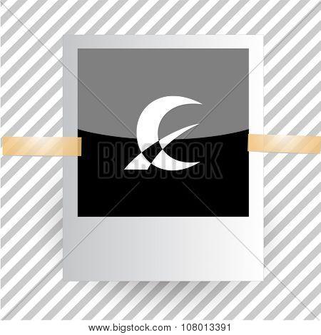 monetary sign. Photoframe. Raster icon.