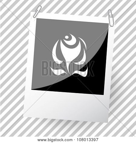 abstract rose. Photoframe. Raster icon.