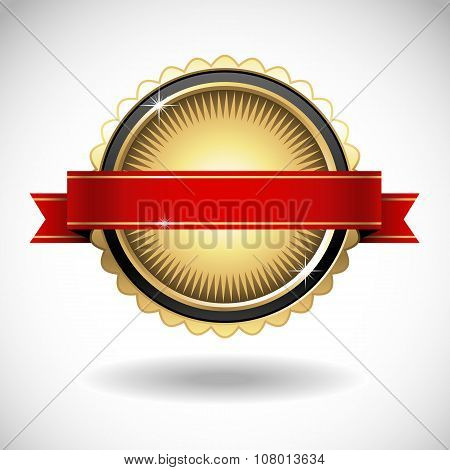 Shiny Gold Seal with Red Banner