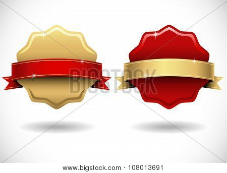 Shiny Gold and Red Wax Seals with Banner