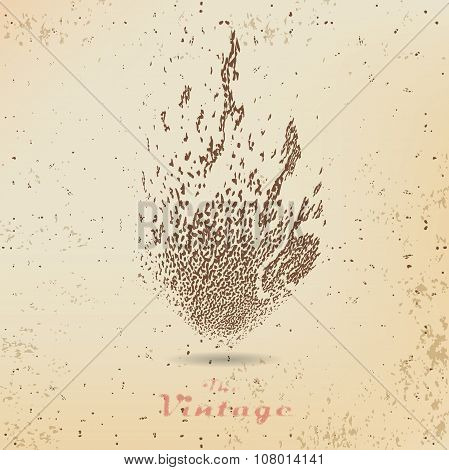 Abstract Background Texture Fire Of Ink Strokes In Vintage Style