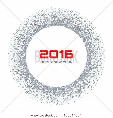 Gray  Frame New Year 2016 Snow Flake Circle Background