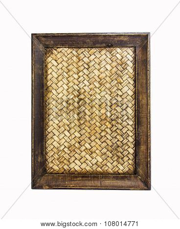 Image Of Thai Bamboo Woven Tray On White Background