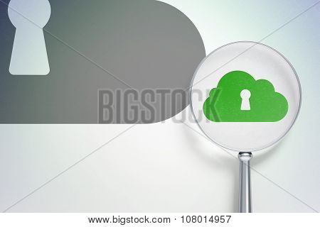 Cloud technology concept:  Cloud With Keyhole with optical glass on digital background