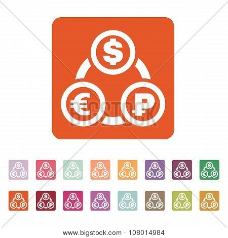The currency exchange dollar, euro, ruble icon. Cash and money, wealth, payment symbol. Flat