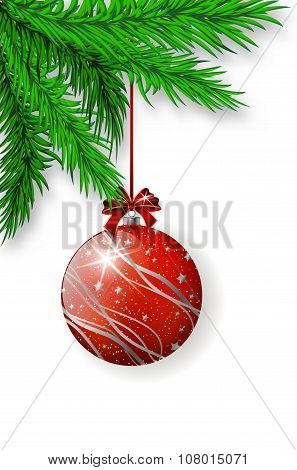 Red Christmas Bulb Hanging On Spruce Twig