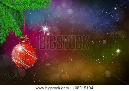 Christmas Card With Red Ball And Spruce Twig