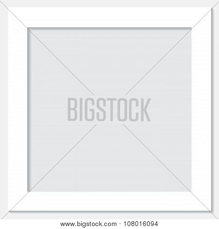 Stock Vector White Frame With Shadow On The Grey Background.