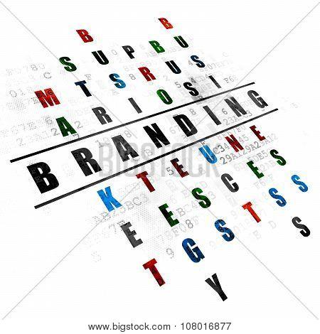 Marketing concept: Branding in Crossword Puzzle