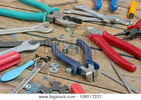 Tools On A Timber Floor.