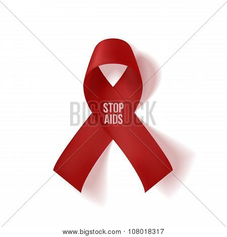 Realistic red Ribbon with Stop AIDS Text