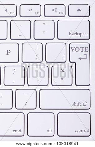 Vote Word Written On High End Aluminium Keyboard