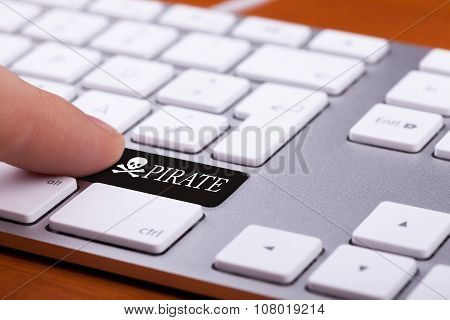 Finger Pressing On Black Pirate Button
