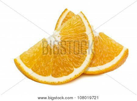 Orange Quarter Slices 2 Isolated On White Background