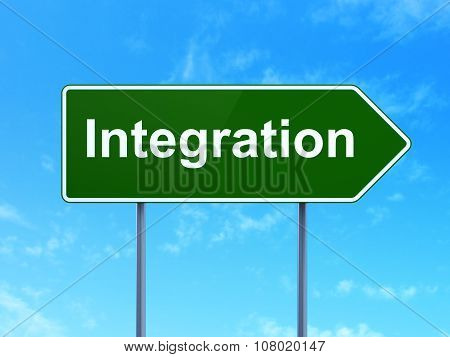 Finance concept: Integration on road sign background
