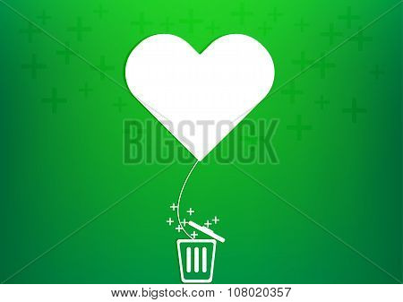 Vector Heart Balloon Plus Trash