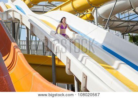 Girl In Bikini Sliding Water Park