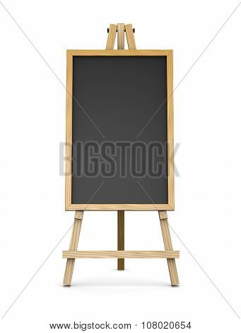 Wooden Easel Supporting An Empty Blackboard