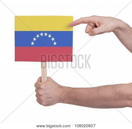 Hand Holding Small Card - Flag Of Venezuela
