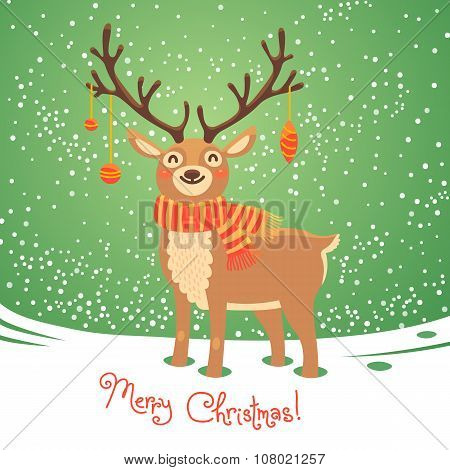 Christmas card with reindeer. Cute cartoon deer. Vector illustration