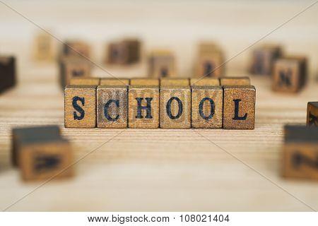 SCHOOL word written on wood block  background