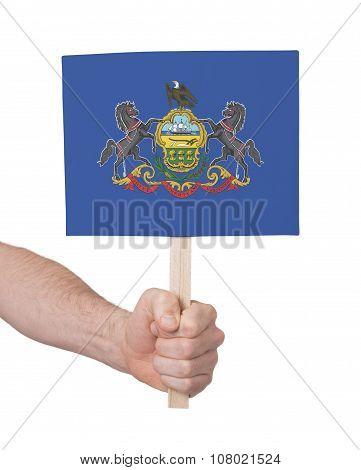 Hand Holding Small Card - Flag Of Pennsylvania