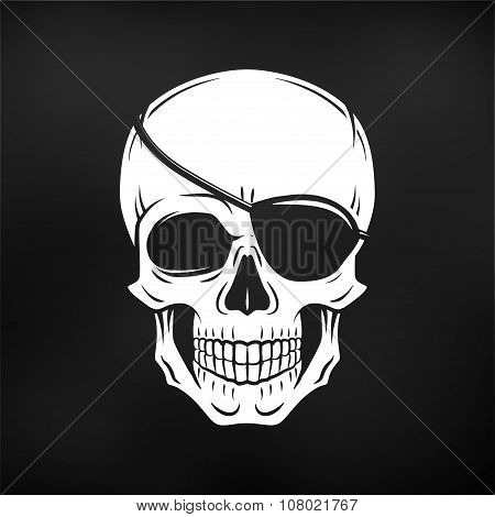 Human evil skull vector. Jolly Roger with eyepatch logo template. death t-shirt design. Pirate insig