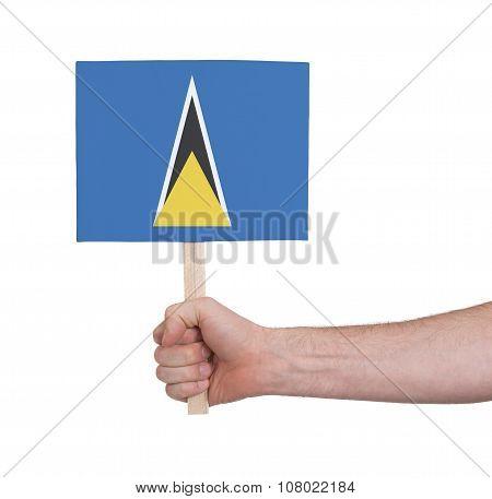 Hand Holding Small Card - Flag Of Saint Lucia