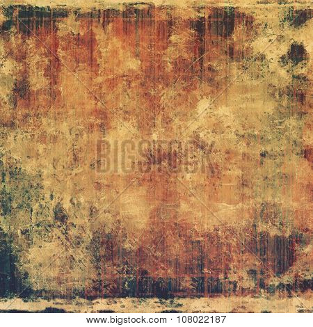 Abstract grunge background with retro design elements and different color patterns: yellow (beige); brown; gray; green