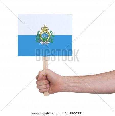 Hand Holding Small Card - Flag Of San Marino