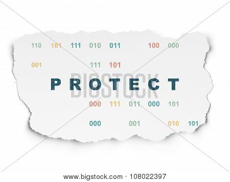 Privacy concept: Protect on Torn Paper background