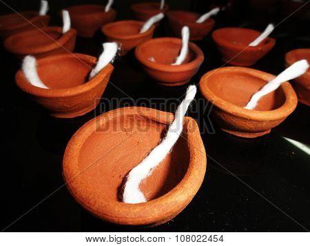Traditional Clay Diyas during Diwali Celebration in India