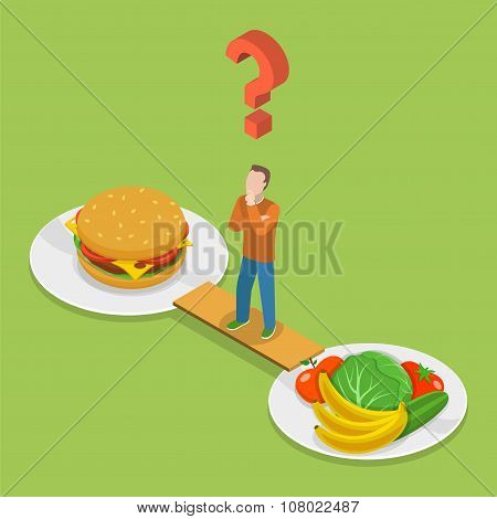 Health or junk food isometeric vector.