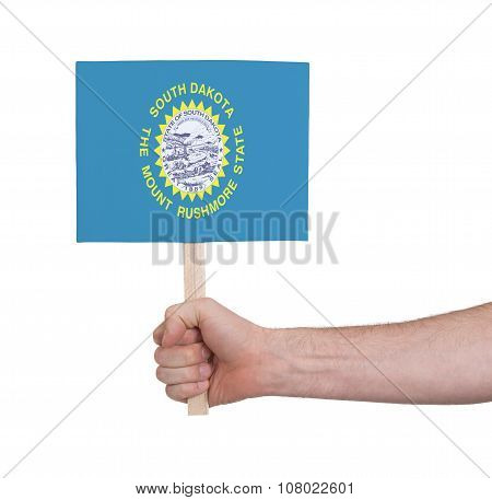 Hand Holding Small Card - Flag Of South Dakota