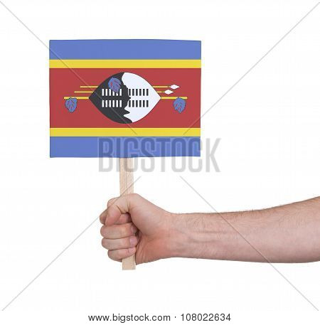 Hand Holding Small Card - Flag Of Swaziland