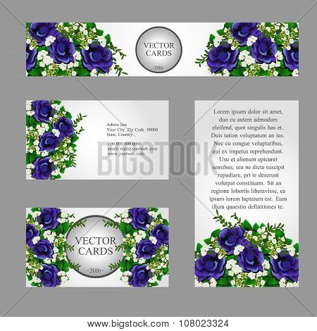 Four cards with white and blue flowers for your design needs