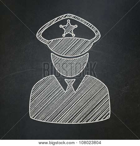 Safety concept: Police on chalkboard background