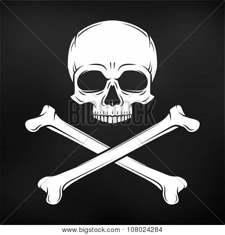 Human evil skull vector on black background. Pirate flag concept design. Jolly Roger with crossbones