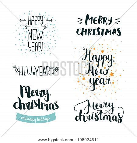 Set of hand drawn Merry christmas and Happy new year lettering