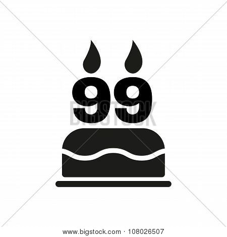 The birthday cake with candles in the form of number 99 icon. Birthday symbol. Flat
