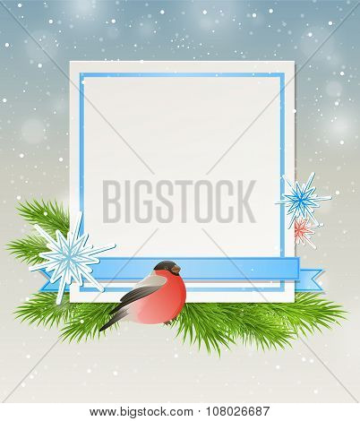 Bullfinch And White Sheet Of Paper