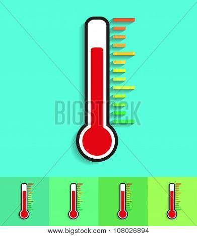 Icon Thermometer On Different Backgrounds With Shadow