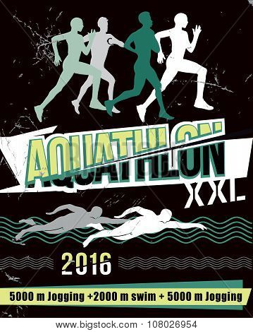 Vector illustration aquathlon - of long distance.