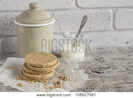 Homemade Scottish Oatcakes,  On Bright Wooden Surface. Healthy Food. Rustic Style