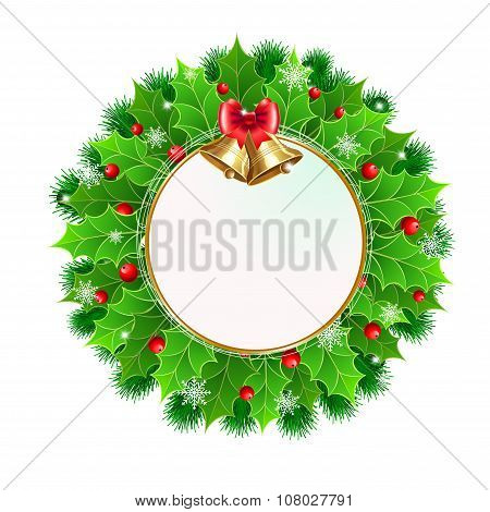 Christmas  Wreath With Holly Berry And Christmas Decoration