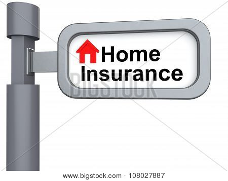 3d signpost with home insurance text