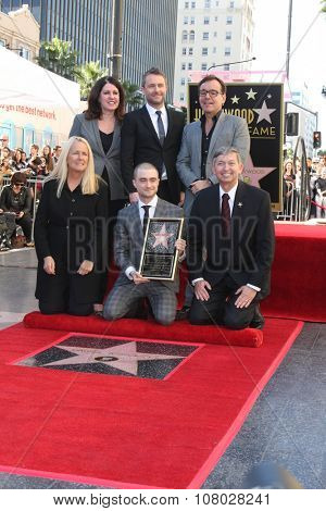 LOS ANGELES - NOV 12:  Chris Hardwick, Chris Columbus, Daniel Radcliffe, Leron Gubler  at the Daniel Radcliffe Ceremony at the Hollywood Walk of Fame on November 12, 2015 in Los Angeles, CA
