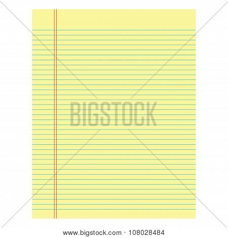Notebook Paper Yellow Colored On A White Background