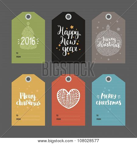 Set of Christmas and New year tags